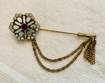 Vintage Sarah Coventry Canada Costume Jewelry Gold Key Pin Brooch Rare