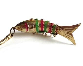 dd831e4b8b65 Vintage Articulated Fish Key Chain Magenta Green Metal Koi Fish Key Chain  Charm