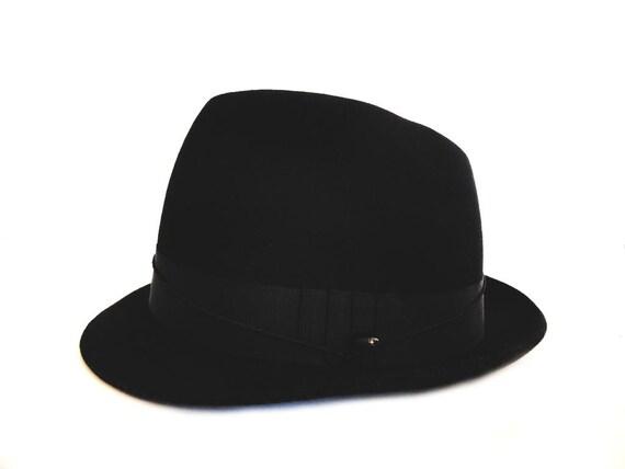 Borsalino Italian Fedora Hat 1960s Felt Black Button Unisex  162722c58df