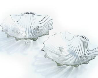 Mikasa Walther Crystal 2 Seashell Serving Bowls