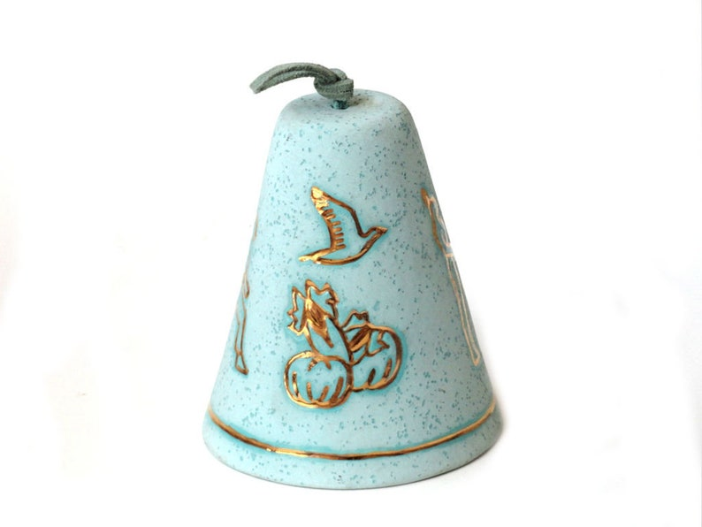 Southwestern Hanging Bell Clay Native American Enamel Gold Gilt Symbols Magic Bell Turquoise Blue