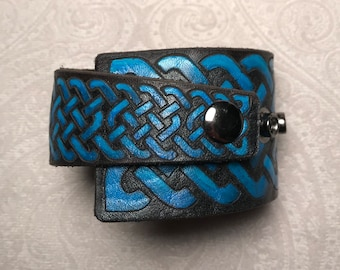 Celtic knotwork leather wrap cuff