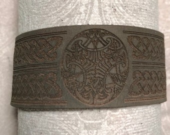 Leather Celtic knotwork cuff
