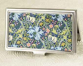Golden Lily Business Card Holder with personalization -  Art Nouveau Business Card Case or Credit Card Wallet - Vintage Floral Print