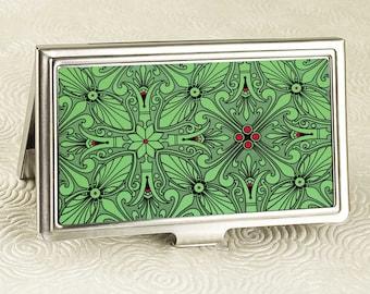 Elegant Emerald  Green Business Card Holder with personalization -  Business Card Case or Credit Card Wallet - Vintage Victorian Design