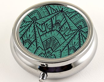 Art Deco Empire Teal Pill Box - Travel Pill Case - Pill Organizer with Divided Compartments - Pocket Pill Case with Mirror - Pill Holder