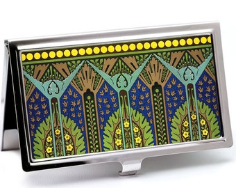 Egyptian Revival Business Card Holder - Sapphire Blue and Green - Retro Credit Card Case - Business Card Holder - Card Wallet - Boss Gift