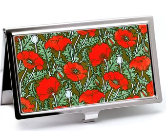 Red Poppy Business Card Holder with personalization -  Art Nouveau Business Card Case or Credit Card Wallet -  ID Card Metal Wallet