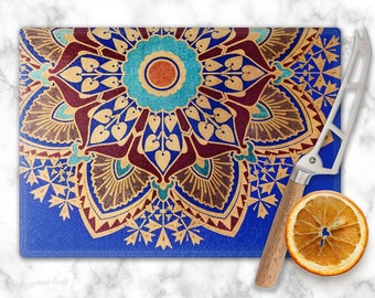 Deco Starburst Cutting Board - Cheese Serving Board - Hostess Gift - Tempered Glass Tray - Vintage Art Deco Print - 8 x 11 Size