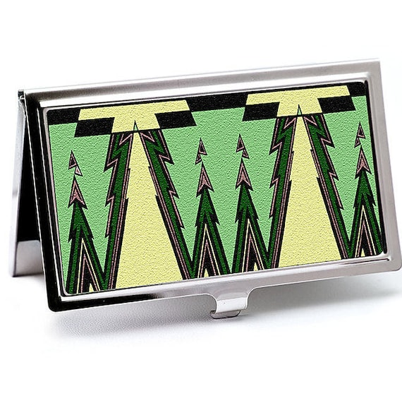 Deco green business card case art deco credit card holder etsy reheart Image collections