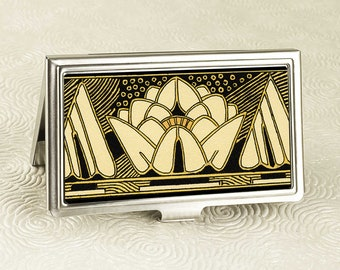 Black Lily Business Card Case - Art Deco Black and Gold Lily - Vintage Style Credit Card Holder - Business Card Holder - ID Card Wallet