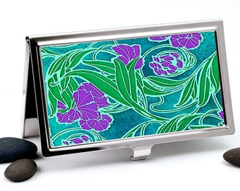 Art Nouveau Business Card Holder, Credit Card Wallet - Purple, Green and Teal Flower Design Card Wallet or Metal Wallet - Executive Gift