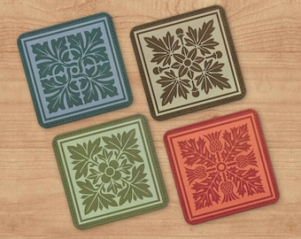 Arts and Crafts Style Coaster Set of 4 - Retro Barware - Polyester and Canvas Drink Coasters - Vintage Tableware -  Cocktail Party Gift