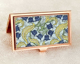 Lily of the Valley Business Card Holder with personalization -  Art Nouveau Business Card Case or Credit Card Wallet - Vintage Floral Print