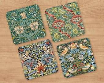 William Morris Coaster Set of 4 - Victorian Style Barware - Polyester and Canvas Drink Coasters - Vintage Tableware -  Cocktail Party Set