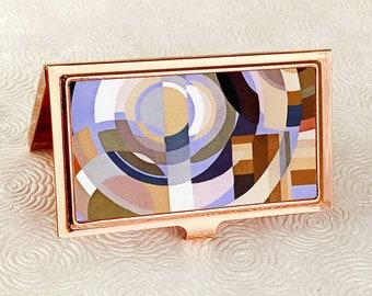 Art Deco Business Card Holder - Autumn Deco Circles - Credit Card Case - Business Card Holder - ID Card Wallet - Boss or Employee Gift Idea