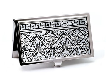 Empire Silver Business Card Holder -  Silver and Black Art Deco Business Card Case - Credit Card Case - Calling Card Case - ID Card Wallet
