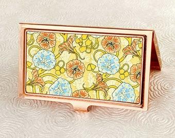 Nasturtium Business Card Holder with Personalization - Art Nouveau Floral Business Card Case -  Credit Card Wallet - Metal ID Wallet