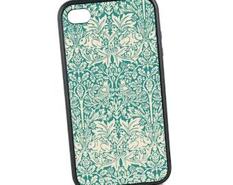 Vintage iPhone 5 Case,  Rubber iPhone 6 Case, William Morris Brother Rabbit Design, Bunny, Teal iPhone 6 Plus Case, iPhone 5C, iPhone SE