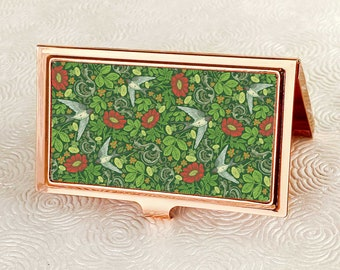 Garden Swallows Business Card Holder with personalization -  Victorian Style Business Card Case, Card Wallet - Vintage Floral ID Holder