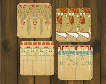 Art Nouveau Style Coaster Set of 4 - Retro Barware - Polyester and Canvas Drink Coasters - Vintage Tableware -  Cocktail Party Gift