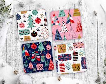 Mod Christmas Kitsch Coaster Set of 4 - Retro Holiday MCM Barware Polyester and Canvas Coasters - Midcentury Style Housewarming Gift