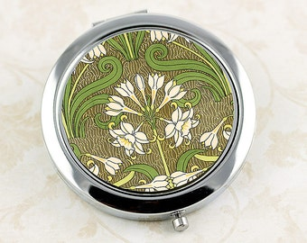 Art Nouveau Jonquil Compact Mirror, French Vintage Floral Design, Mirrored Compact with Daffodil Flower, Makeup Mirror, Bridesmaid Gift