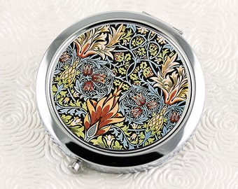 Snakeshead Floral Compact Mirror, Vintage William Morris Design Mirrored Compact, Floral Pocket Mirror, Makeup Mirror, Bridesmaid Gift
