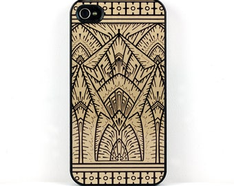 Geometric iPhone 6 case, Gold and Black Vintage Art Deco iPhone 5 case, Plastic iPhone SE Case, retro elegant cell phone case, iPhone 5C