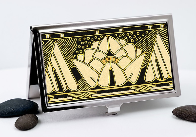 Black Lily Business Card Case  Art Deco Black and Gold Lily  image 0