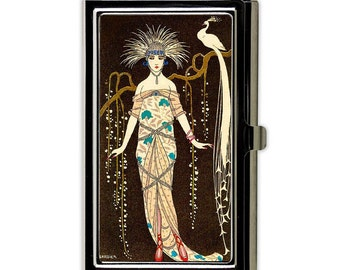 Art Deco Peacock Business Card Holder with Personalization - French Girl Style Business Card Case or Credit Card Case - Card Wallet