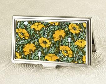 Floral Business Card Case, Credit Card Holder - Art Nouveau Golden Poppy Design -  ID Card Wallet or Metal Wallet - Gift for Entreprenuers