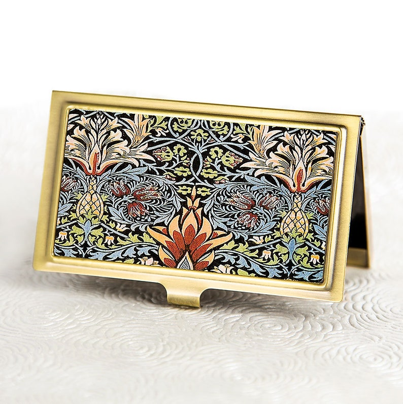 William Morris Snakeshead Business Card Holder - Victorian floral Business  Card Case - Credit Card Holder - Metal ID Card Wallet - Boss Gift