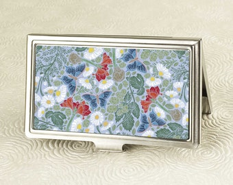 Butterfly Oasis Business Card Holder with personalization -  Victorian style Business Card Case or Credit Card Wallet, ID Holder