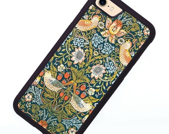 William Morris Strawberry Thief iPhone case fits iPhone 7, iPhone 8, iPhone X, iPhone XR, iPhone SE 2, Rubber Grip, Arts and Crafts style