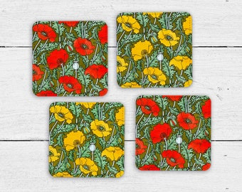 Art Nouveau Poppies Floral Coaster Set of 4 - Retro Barware - Polyester and Canvas Drink Coasters - Vintage Tableware - Cocktail Party Decor