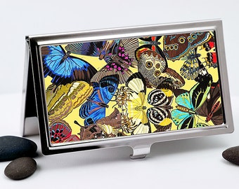 Butterfly Business Card Case, Credit Card Holder - Art Nouveau Business Card Holder - Card Wallet - ID Wallet - Boss Gift - Employee Gift