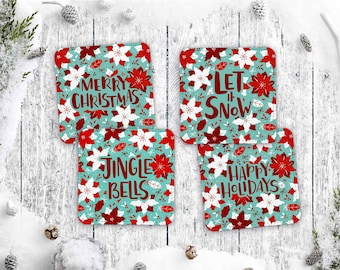 Retro Christmas Greetings Coaster Set of 4 - Vintage Style Holiday Barware Polyester and Canvas Coasters - Kitschy Housewarming Gift