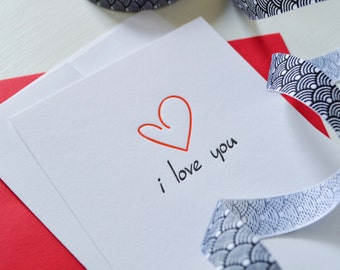 I Love You Card  : Letterpress