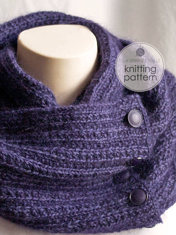 Knitting Pattern Scarf Knitting Pattern Cowl Knit Scarf Etsy Magnificent Knitted Scarf Patterns