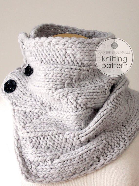Knitting Pattern Cowl Knitting Pattern Scarf Knit Cowl Diy Etsy