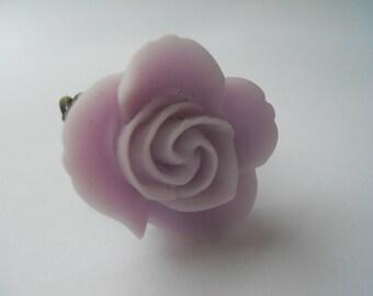 Glossy Lavender Red Rose Adjustable Ring