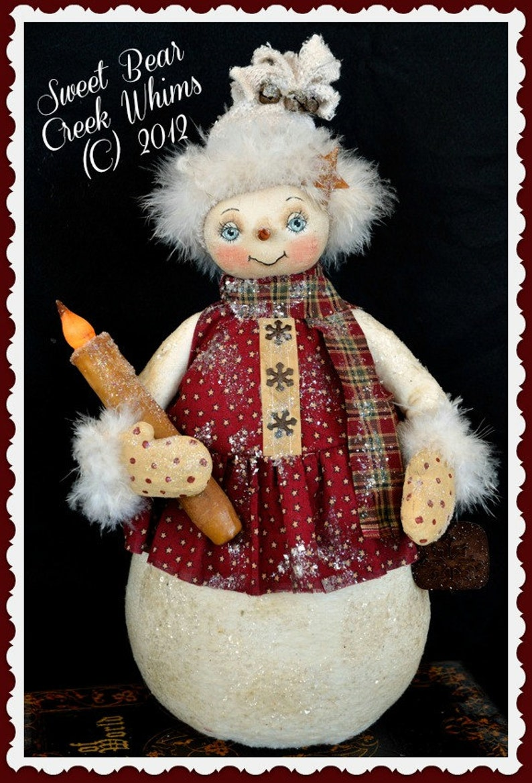 Cloth doll pattern Winter Snowgirl Christmas Holiday Primitive Snowman Pattern Digital Download Pattern PDF Instant download pattern