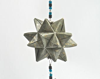 CHRISTMAS Gift Ornament Home Décor Modular 3D Origami Star Ball, HANDMADe in Silver Gray Paper Embossed with Gold on An Ornament Stand OOaK