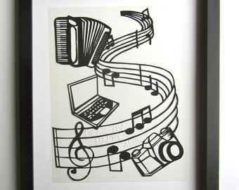 Computer Engineer, Photographer, Accordionist, Musician Birthday Wishes ORIGINAL PAPER CUT Custom Order Wall and Home Décor One Of a Kind