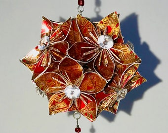 VALENTINE'S Day GiFT Ornament Decoration Home Décor KUSUDAMA Modular Origami Handmade in Gold/Red Paper, w/Gold Tone Stand One Of A Kind