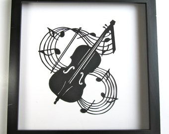 VIOLIN & Music Notes Paper Cut Silhouette GRADUATION Gift in Black for Music Lovers Wall and Home Décor Handmade Framed One Of A Kind