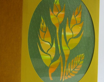 Bird of Paradise GREETING Card w/SILHOUETTE Cutout Original Design Home Décor Handmade Cut Out in Bright Yellow and Green One Of A Kind