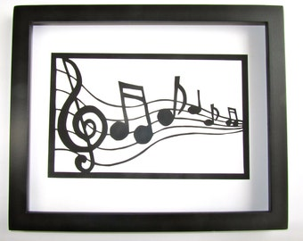 VALENTINE's LOVE Notes Silhouette Paper Cutout Wall and Home Décor ORiGiNAL Design For Music Lovers SIGNED Handmade Framed One Of A Kind