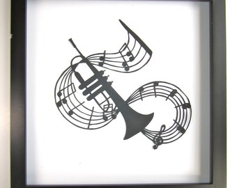 TRUMPET and Music NOTES - GRADUATION Gift Black Silhouette Paper Cut for Music Lovers Wall and Home Décor Handmade Framed One Of A Kind